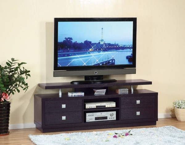 Homeroots Dark Brown Wood TV Stand with 4 Drawers and 2 Open Shelves OCN-299921