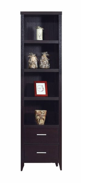 Homeroots Dark Brown Wood Display Shelves Media Tower OCN-299924