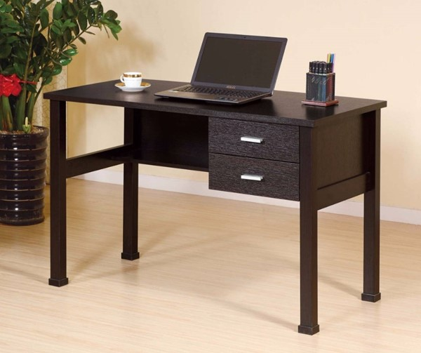 Homeroots Dark Brown Hardwood 2 Drawers Desk OCN-299957