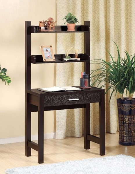 Homeroots Dark Brown Hardwood 2 Shelves Desk OCN-299958