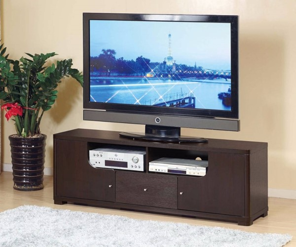 Homeroots Dark Brown Wood TV Stand with 1 Drawer and 2 Open Shelves OCN-299961