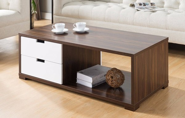Homeroots Brown White Wood Double Sided Drawers Coffee Table OCN-299994