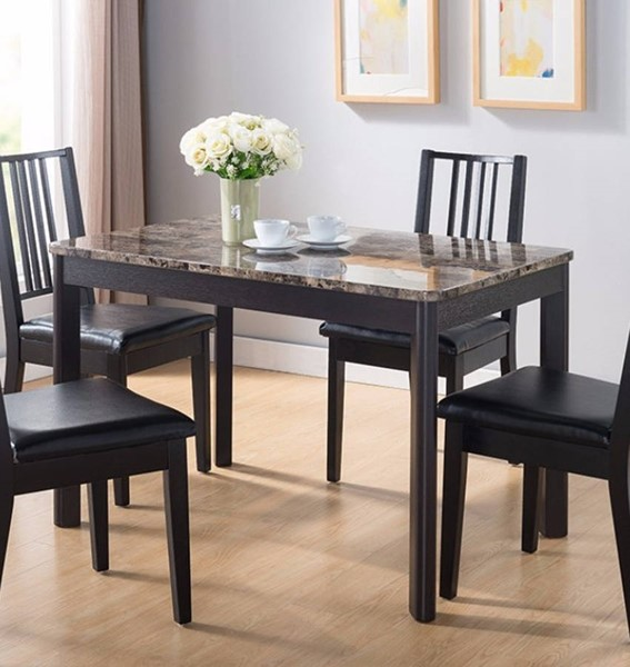 Homeroots Dark Brown Wood Faux Marble Top Splendid Dining Table OCN-300016