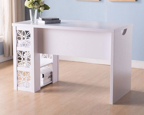 Homeroots White Wood Floral Design Writing and Computer Desk OCN-300017