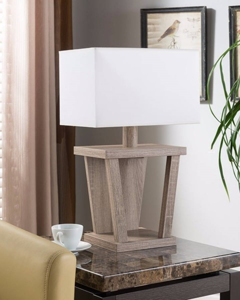 HomeRoots Light Brown Wood Table Lamp OCN-300022