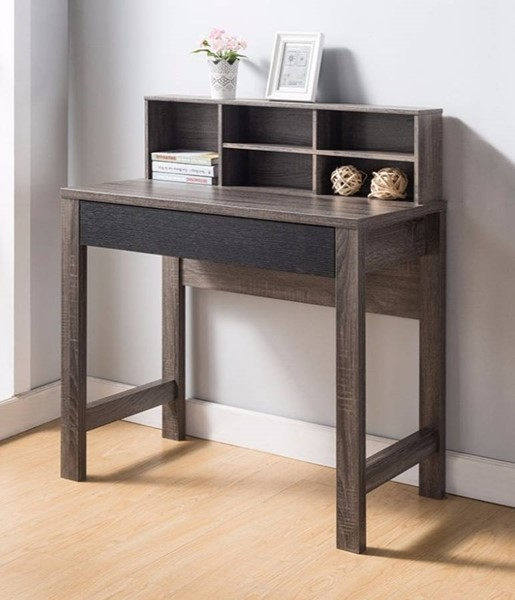 Homeroots Brown Wood Pull Out Drawer Desk OCN-300028