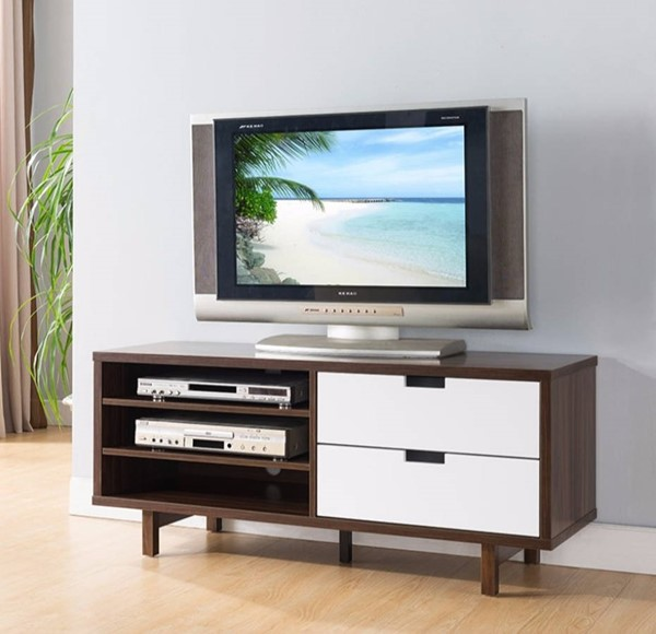 Homeroots Dark Brown White Wood Two Toned TV Stand with Display Decks OCN-300029