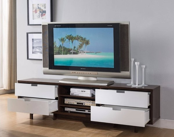 Homeroots Dark Brown White Wood TV Stand with Four Drawers OCN-300030