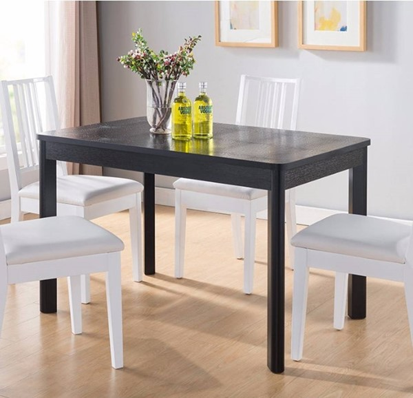 Homeroots Black Solid Wood Faux Crocodile Top Dining Table OCN-300035