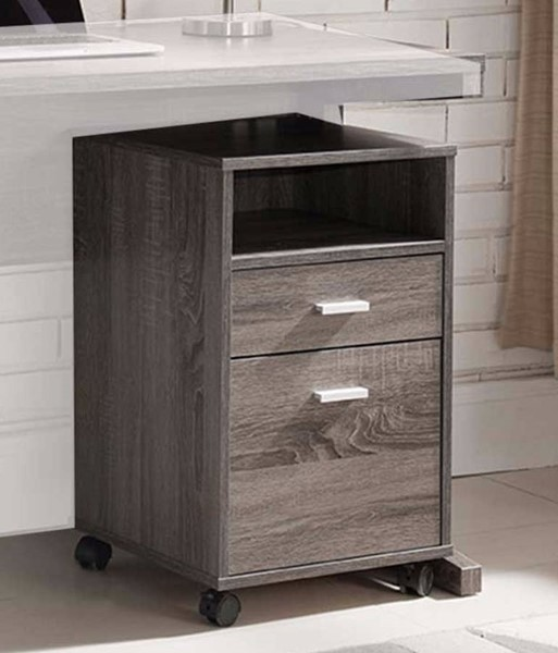 Homeroots Gray Wood Storage File Cabinet with Wheels OCN-300040