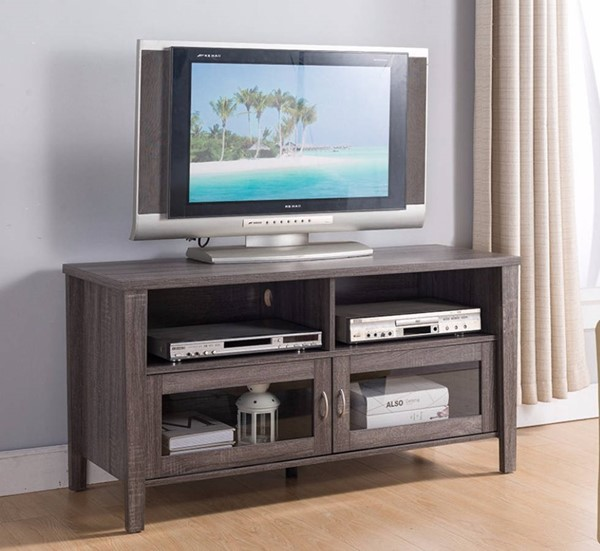 Homeroots Gray Wood Flared Legs TV Stand OCN-300052