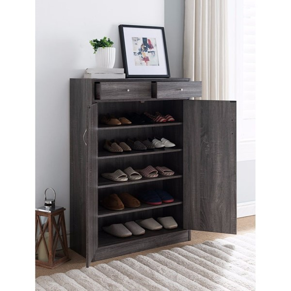 HomeRoots Gray Shoe Cabinet With Storages OCN-300055