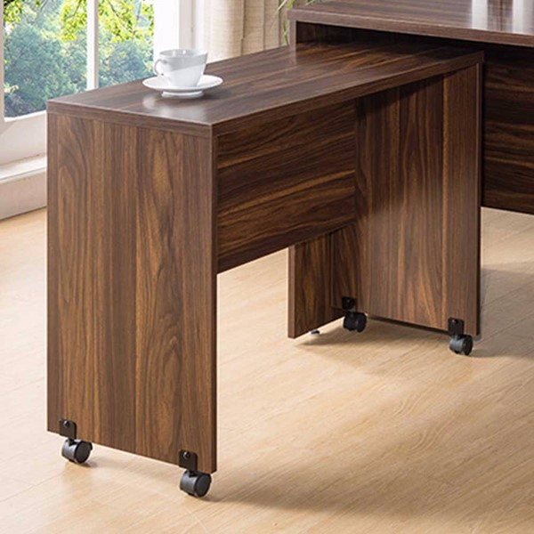 Homeroots Dark Brown Wood Return Table with Wheels OCN-300059