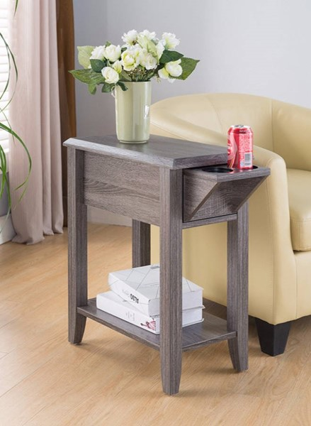 Homeroots Gray Wood Chair Side Table with Cup Holder Space OCN-300065