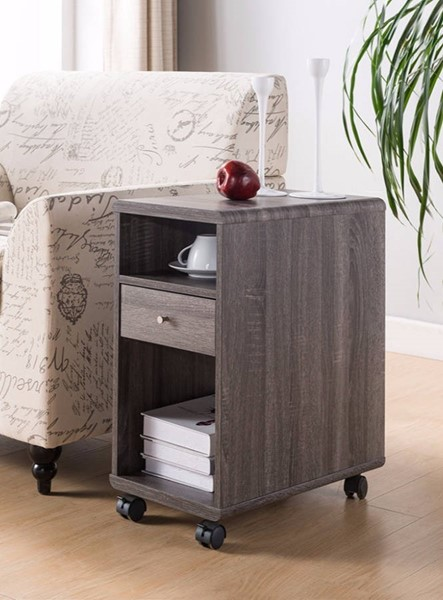 Homeroots Gray Wood Chair Side Table with Display Shelves and Drawer OCN-300082