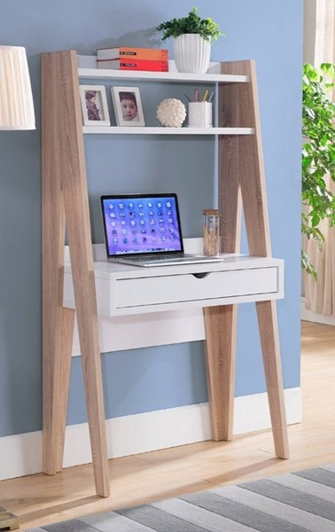 Homeroots Light Brown White Wood Huge Adorning Computer Desk with Drawer OCN-300102