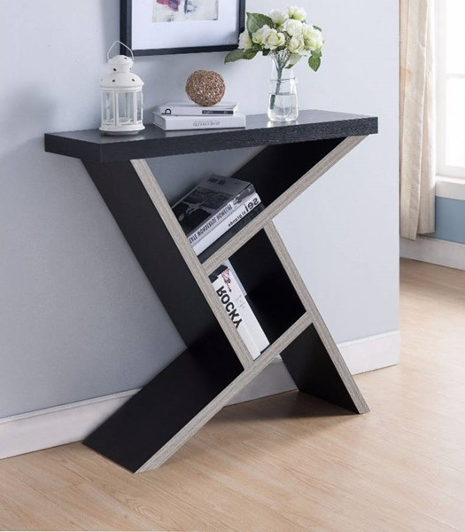 Homeroots Dark Taupe Wood Unique Console Table with Shelf OCN-300107