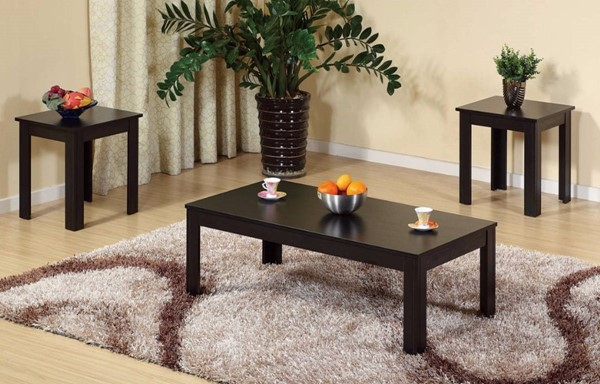 Homeroots Brown Wood Sleek 3pc Coffee Table Set OCN-300113