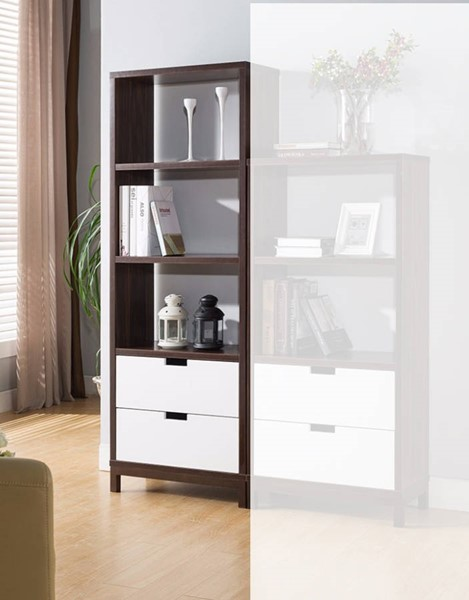Homeroots Brown White Wood Two Toned Large Display Cabinet OCN-300122
