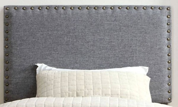 HomeRoots Gray Fabric Solid Wood Headboards OCN-300659-HDBD-VAR