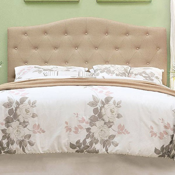 HomeRoots Ivory Fabric Full Queen Tufted Headboard OCN-300669