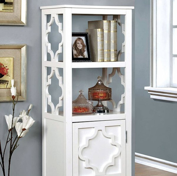 Homeroots White Solid Wood Display Cabinet OCN-300682
