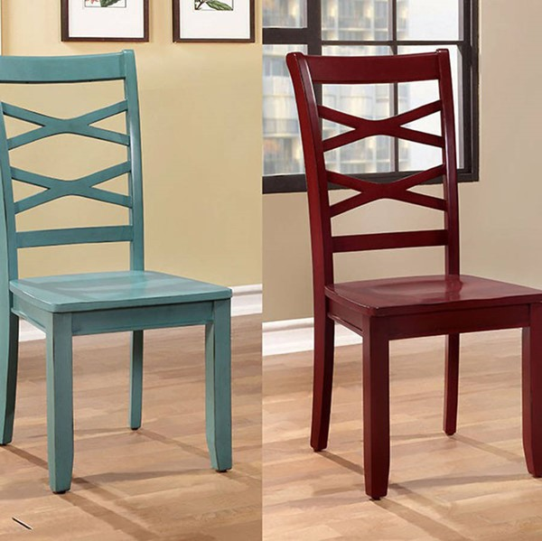 2 Homeroots Red Blue Wood Side Chairs OCN-300705