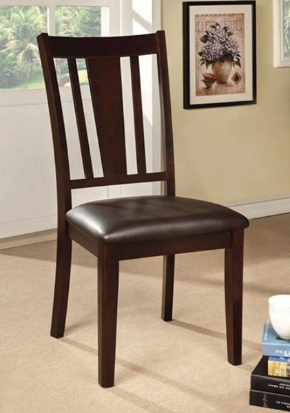 2 Homeroots Espresso Leatherette Solid Wood Side Chairs OCN-300720