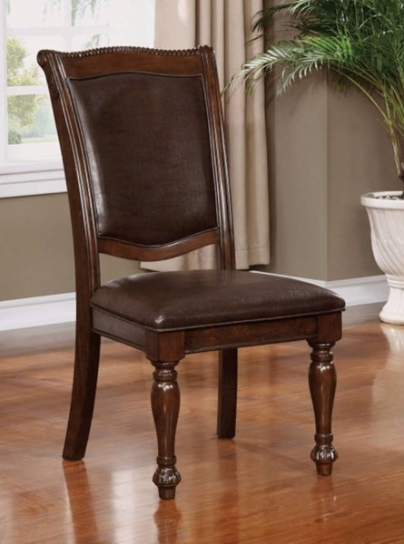 2 Homeroots Brown Leatherette Solid Wood Side Chairs OCN-300731