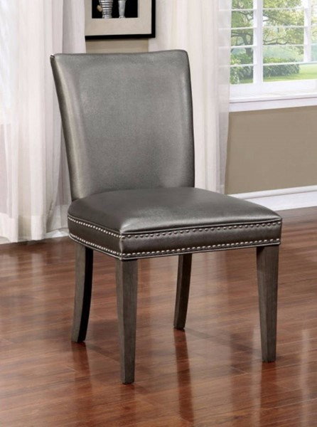 2 Homeroots Dark Gray Leatherette Solid Wood Side Chairs OCN-300732