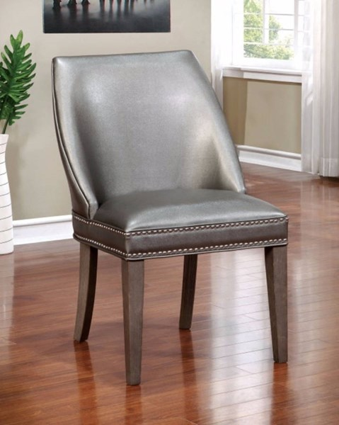 2 Homeroots Dark Gray Leatherette Solid Wood Arm Chairs OCN-300736