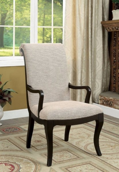 2 Homeroots Gray Fabric Espresso Solid Wood Arm Chairs OCN-300745
