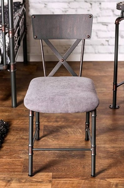 Homeroots Antique Black Metal Solid Wood Dining Chair OCN-300770