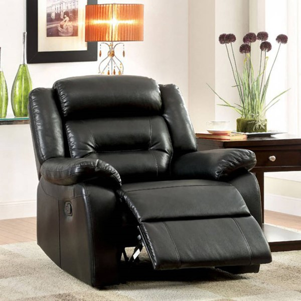 HomeRoots Contemporary Black Bonded Leather Recliner OCN-300773