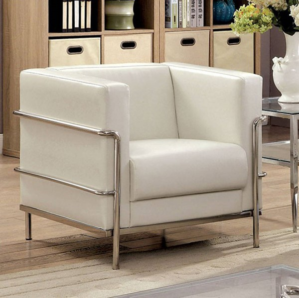 HomeRoots Contemporary White Leatherette Chair OCN-300789