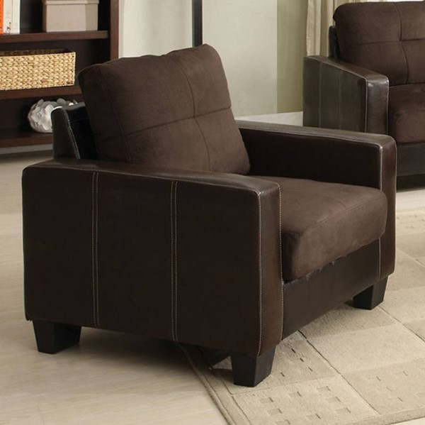 HomeRoots Contemporary Espresso Chocolate Microfiber Chair OCN-300823