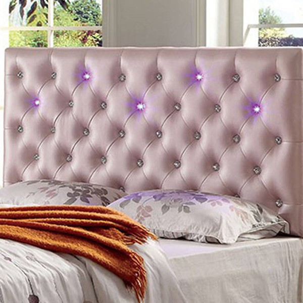 HomeRoots Contemporary Pink Leatherette Twin Pink Headboard OCN-301104