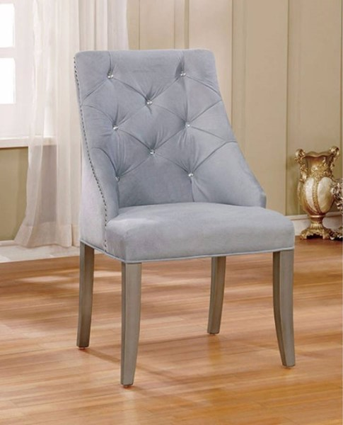 2 Homeroots Light Gray Fabric Dining Wingback Chairs OCN-301109