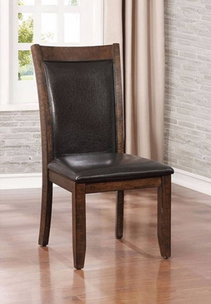 2 Homeroots Brown Leather Cherry Wood Side Chairs OCN-301111