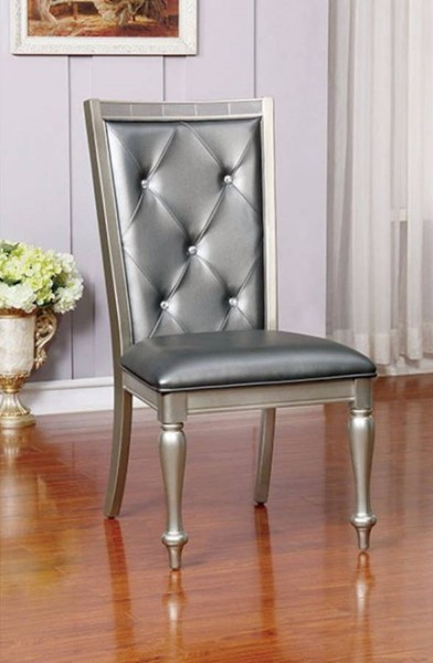 2 Homeroots Silver Gray Leather Side Chairs OCN-301116