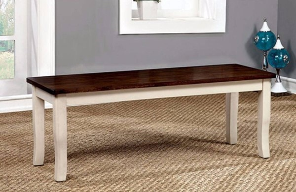 Homeroots Cherry White Wood Dining Bench OCN-301119