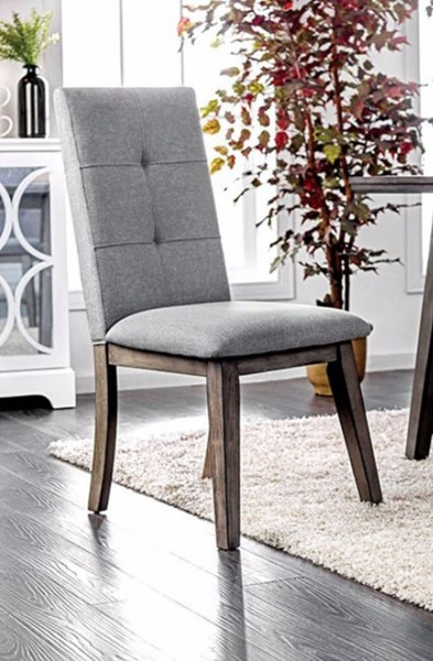 2 Homeroots Gray Linen Side Chairs OCN-301120