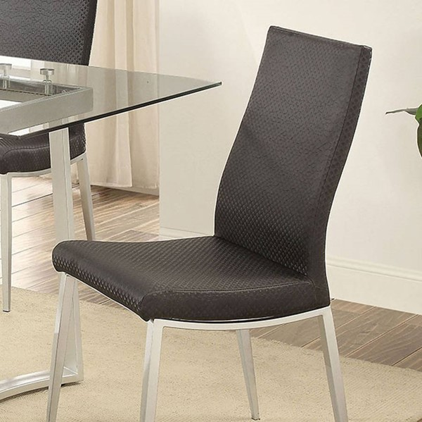 2 Homeroots Black Leather Silver Powder Coating Metal Side Chairs OCN-301121