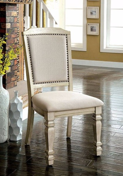 2 Homeroots Antique White Linen Side Chairs OCN-301131