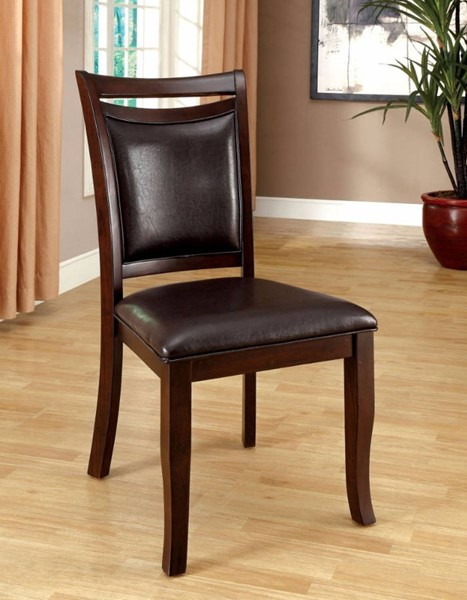 2 Homeroots Transitional Espresso Leatherette Side Chairs OCN-301141