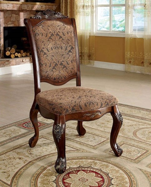2 Homeroots Antique Cherry Solid Wood Side Chairs OCN-301150