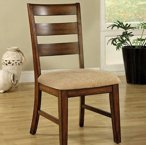 2 Homeroots Transitional Antique Oak Solid Wood Side Chairs OCN-301152