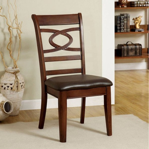 2 Homeroots Brown Cherry Solid Wood Leatherette Side Chairs OCN-301156
