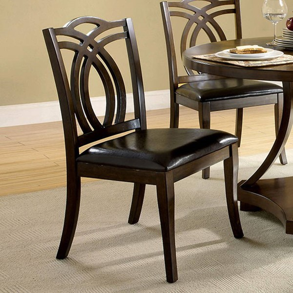 2 Homeroots Black Leatherette Brown Solid Wood Side Chairs OCN-301157