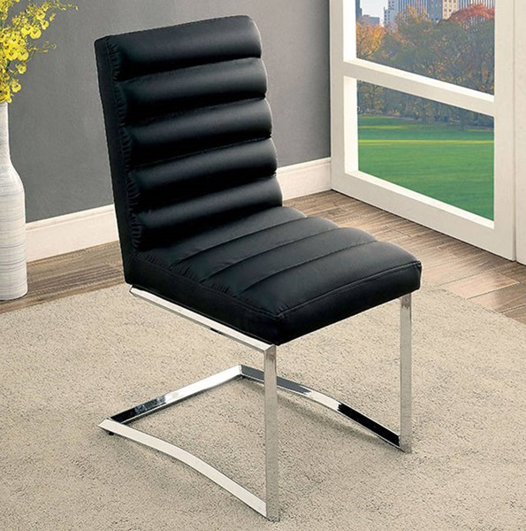 Homeroots Black Leather Metal Side Chairs OCN-301158-DR-CH-VAR